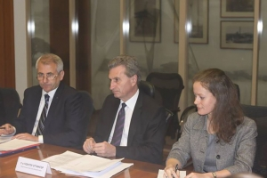 Commiss Oettinger and Head of EU Delegation Olga Krylova