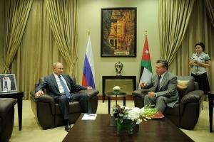 Встреча В. Путина с королем Иордании Абдаллой II. Переводчик - Елена Полынцева