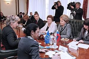 Встреча В. Матвиенко и ЗГС Совета Европы Мод де Бур-Буккикио